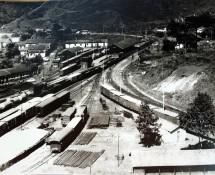 Foto aérea do conjunto ferroviário de Miguel Burnier. Vila de Miguel Burnier, Ouro Preto–MG